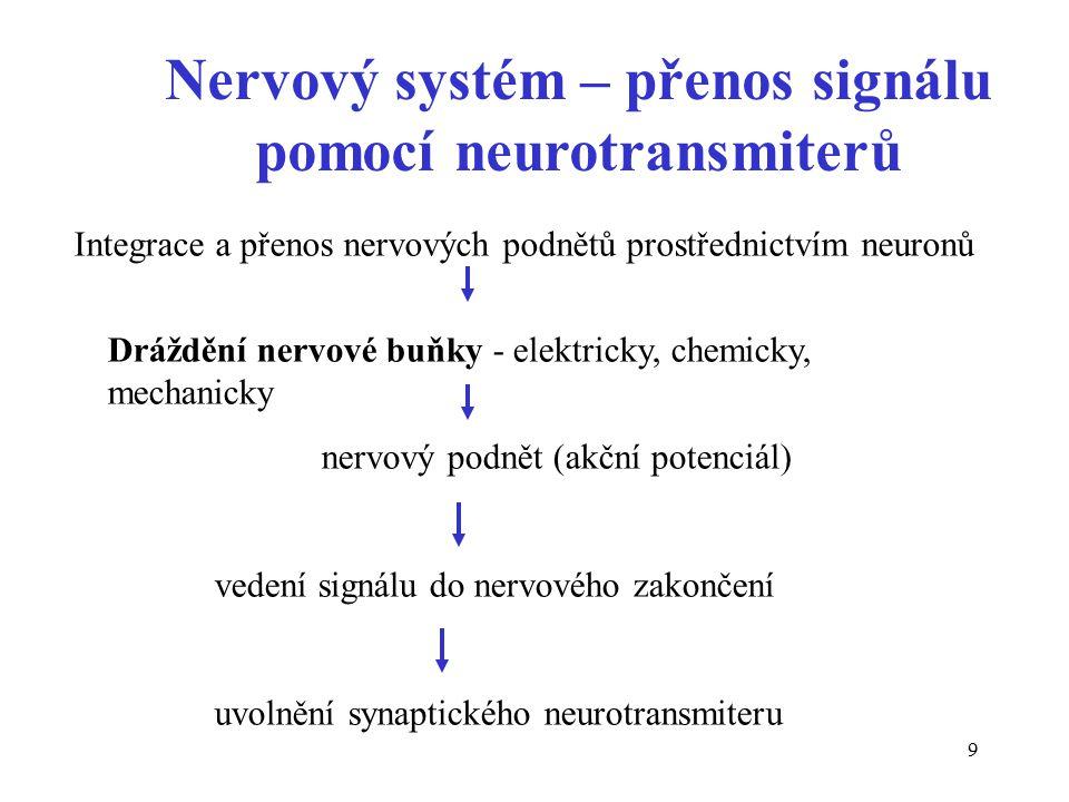 9 Nervový systém – přenos signálu pomocí neurotransmiterů Integrace a přenos nervových podnětů prostřednictvím neuronů Dráždění nervové buňky - elektricky, chemicky, mechanicky nervový podnět (akční potenciál) vedení signálu do nervového zakončení uvolnění synaptického neurotransmiteru