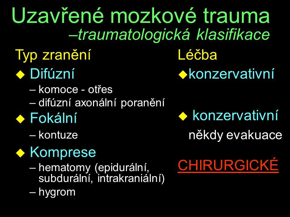 Uzavřené mozkové trauma –traumatologická klasifikace Typ zranění u Difúzní –komoce - otřes –difúzní axonální poranění u Fokální –kontuze u Komprese –h
