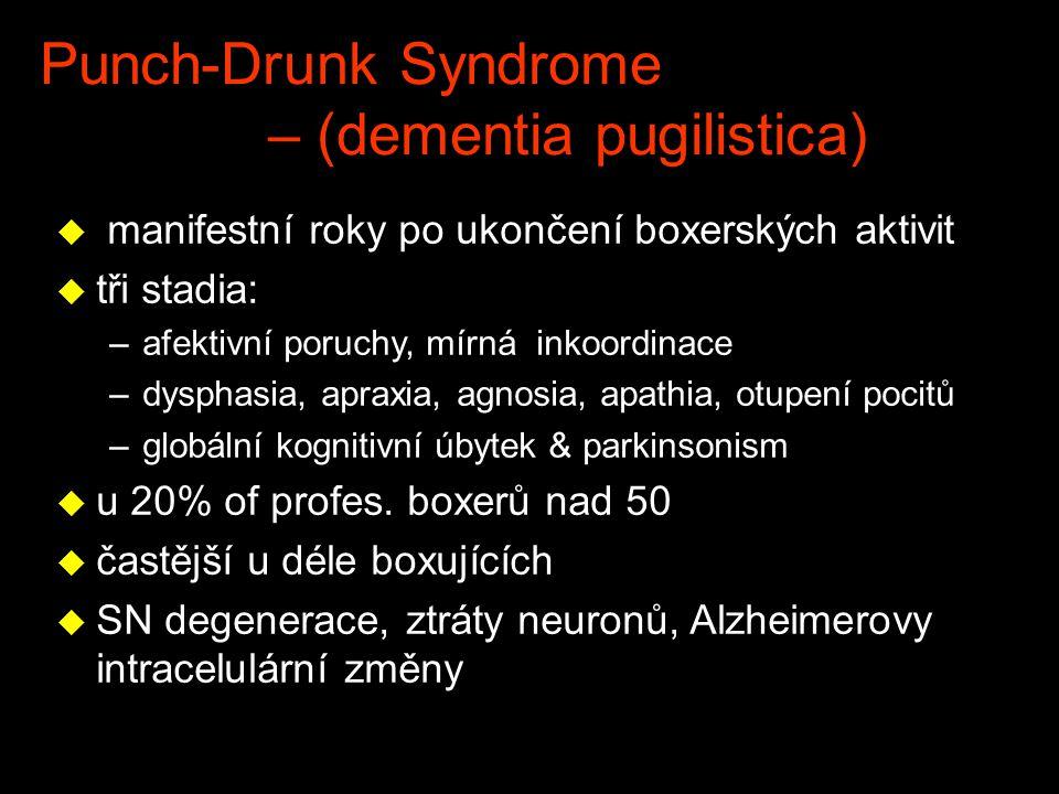 Punch-Drunk Syndrome – (dementia pugilistica) u manifestní roky po ukončení boxerských aktivit u tři stadia: –afektivní poruchy, mírná inkoordinace –d