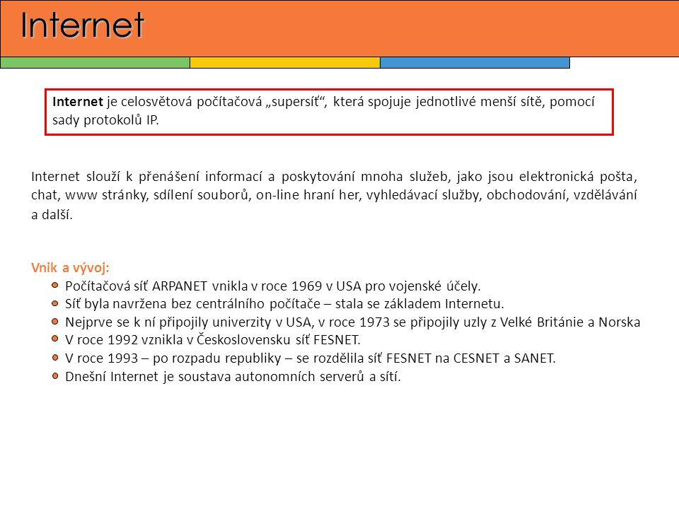 """Internet Internet je celosvětová počítačová """"supersíť , která spojuje jednotlivé menší sítě, pomocí sady protokolů IP."""