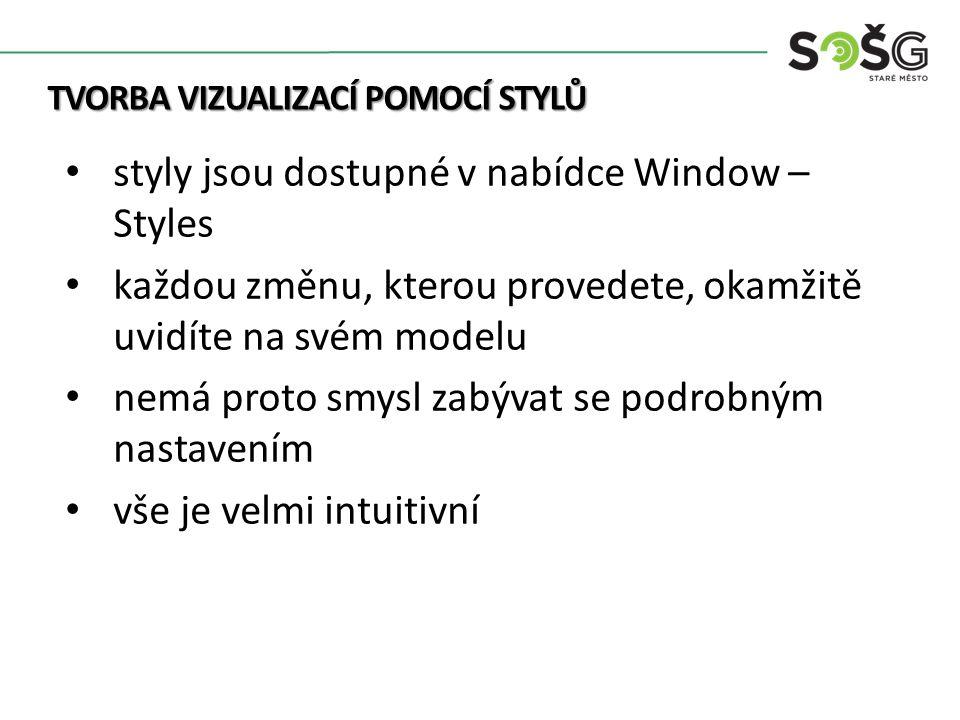TVORBA VIZUALIZACÍ POMOCÍ STYLŮ styly jsou dostupné v nabídce Window – Styles každou změnu, kterou provedete, okamžitě uvidíte na svém modelu nemá proto smysl zabývat se podrobným nastavením vše je velmi intuitivní