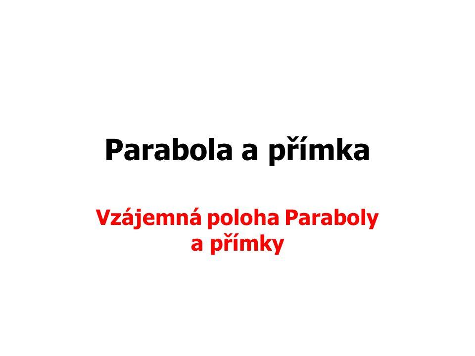 Parabola a přímka Vzájemná poloha Paraboly a přímky
