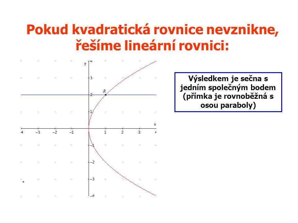 Pokud kvadratická rovnice nevznikne, řešíme lineární rovnici: Výsledkem je sečna s jedním společným bodem (přímka je rovnoběžná s osou paraboly)