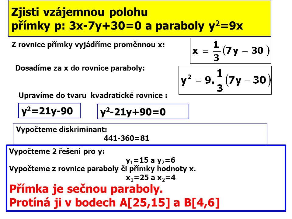 Zjisti vzájemnou polohu přímky p: 3x-7y+30=0 a paraboly y 2 =9x Z rovnice přímky vyjádříme proměnnou x: Dosadíme za x do rovnice paraboly: Upravíme do