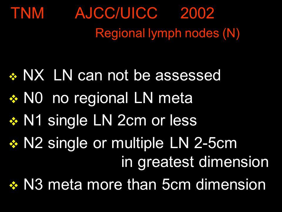 TNM AJCC/UICC 2002 Regional lymph nodes (N) v NX LN can not be assessed v N0 no regional LN meta v N1 single LN 2cm or less v N2 single or multiple LN 2-5cm in greatest dimension v N3 meta more than 5cm dimension