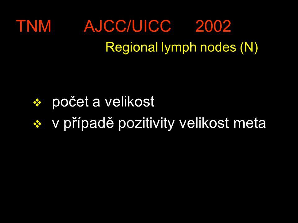 TNM AJCC/UICC 2002 Regional lymph nodes (N) v počet a velikost v v případě pozitivity velikost meta