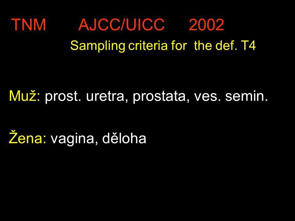 TNM AJCC/UICC 2002 Sampling criteria for the def. T4 Muž: prost. uretra, prostata, ves. semin. Žena: vagina, děloha