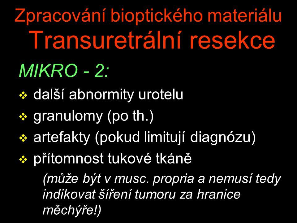 Zpracování bioptického materiálu Transuretrální resekce MIKRO - 2: v další abnormity urotelu v granulomy (po th.) v artefakty (pokud limitují diagnózu) v přítomnost tukové tkáně (může být v musc.