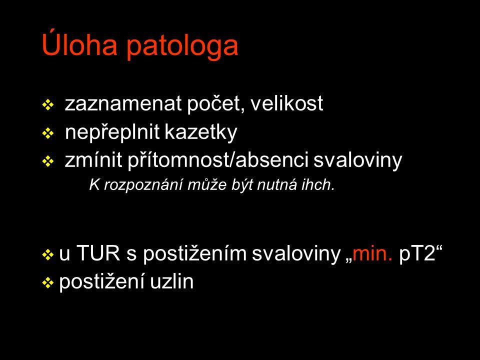 Úloha patologa v zaznamenat počet, velikost v nepřeplnit kazetky v zmínit přítomnost/absenci svaloviny K rozpoznání může být nutná ihch.