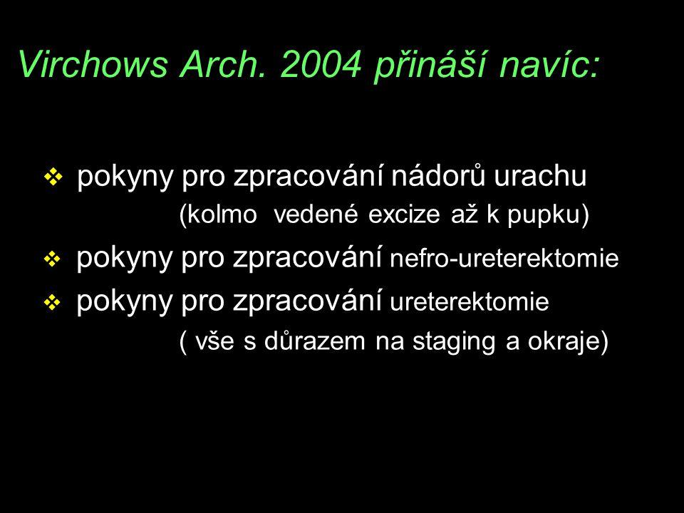 Virchows Arch. 2004 přináší navíc: v pokyny pro zpracování nádorů urachu (kolmo vedené excize až k pupku) v pokyny pro zpracování nefro-ureterektomie