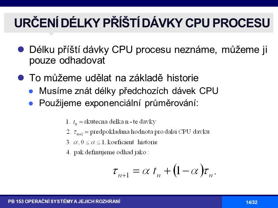 14/32 Délku příští dávky CPU procesu neznáme, můžeme ji pouze odhadovat To můžeme udělat na základě historie ●Musíme znát délky předchozích dávek CPU ●Použijeme exponenciální průměrování: URČENÍ DÉLKY PŘÍŠTÍ DÁVKY CPU PROCESU PB 153 OPERAČNÍ SYSTÉMY A JEJICH ROZHRANÍ