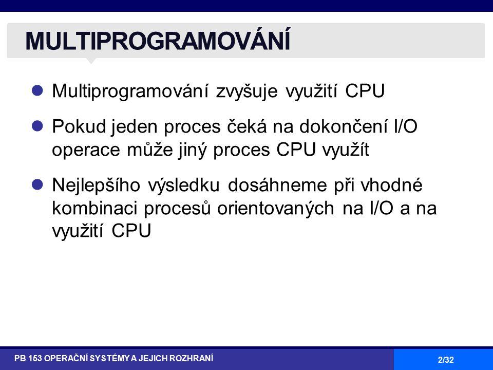 2/32 Multiprogramování zvyšuje využití CPU Pokud jeden proces čeká na dokončení I/O operace může jiný proces CPU využít Nejlepšího výsledku dosáhneme při vhodné kombinaci procesů orientovaných na I/O a na využití CPU MULTIPROGRAMOVÁNÍ PB 153 OPERAČNÍ SYSTÉMY A JEJICH ROZHRANÍ