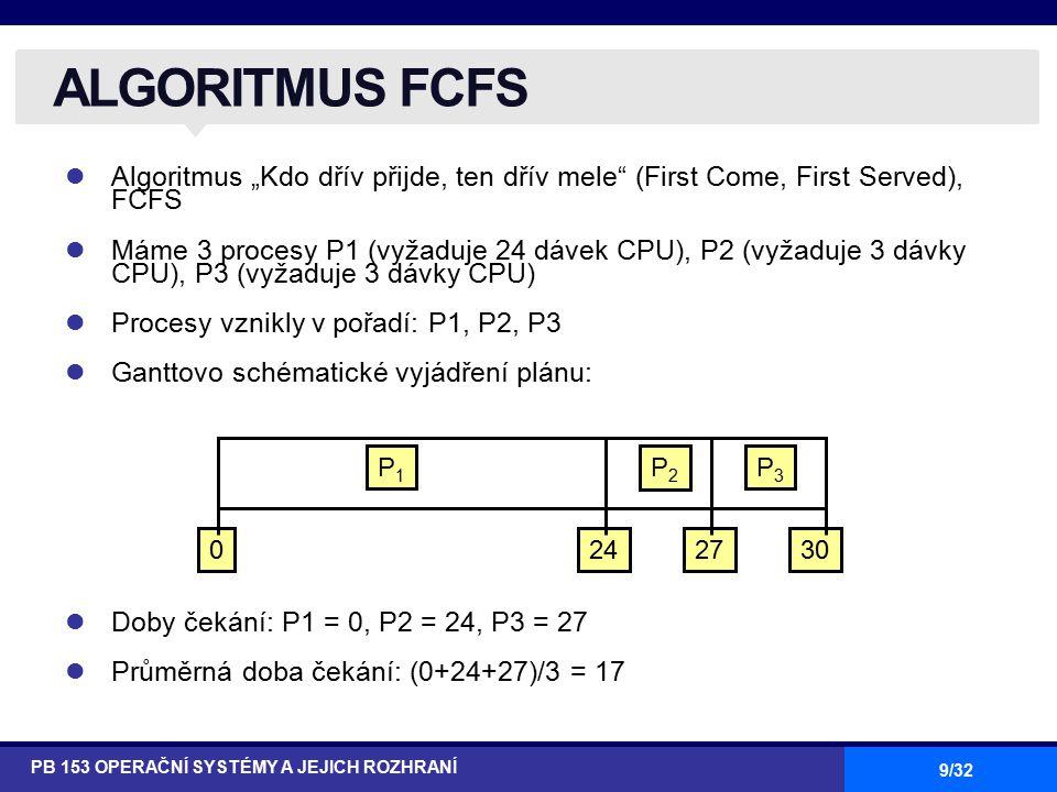 """9/32 Algoritmus """"Kdo dřív přijde, ten dřív mele (First Come, First Served), FCFS Máme 3 procesy P1 (vyžaduje 24 dávek CPU), P2 (vyžaduje 3 dávky CPU), P3 (vyžaduje 3 dávky CPU) Procesy vznikly v pořadí: P1, P2, P3 Ganttovo schématické vyjádření plánu: Doby čekání: P1 = 0, P2 = 24, P3 = 27 Průměrná doba čekání: (0+24+27)/3 = 17 ALGORITMUS FCFS PB 153 OPERAČNÍ SYSTÉMY A JEJICH ROZHRANÍ P1P1 P2P2 P3P3 2427300"""