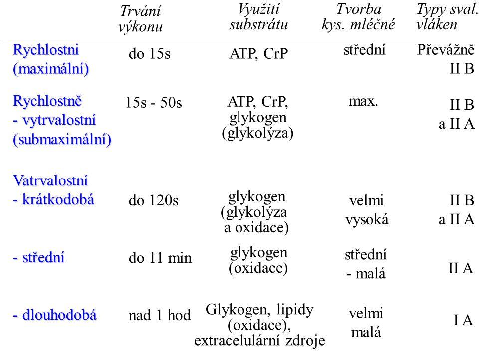 Rychlostni(maximální) Rychlostně - vytrvalostní (submaximální) Vatrvalostní - krátkodobá - střední - dlouhodobá do 15s 15s - 50s do 120s do 11 min nad