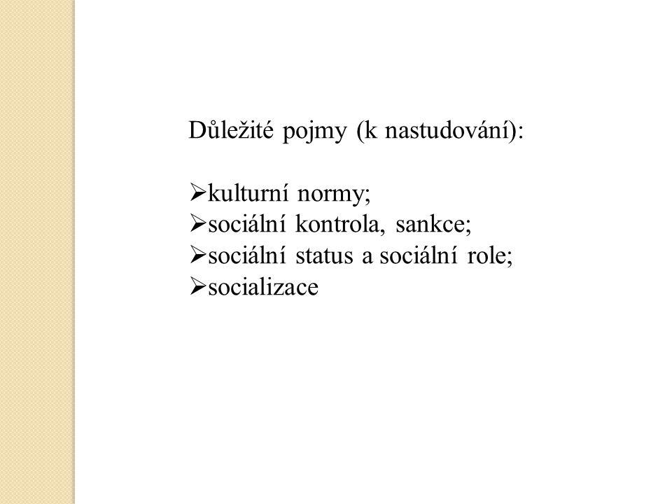 Důležité pojmy (k nastudování):  kulturní normy;  sociální kontrola, sankce;  sociální status a sociální role;  socializace