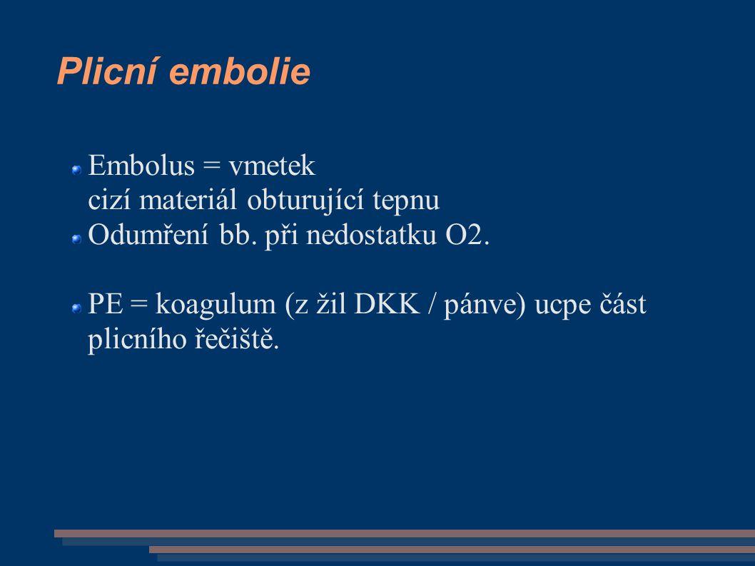 Plicní embolie Embolus = vmetek cizí materiál obturující tepnu Odumření bb. při nedostatku O2. PE = koagulum (z žil DKK / pánve) ucpe část plicního ře