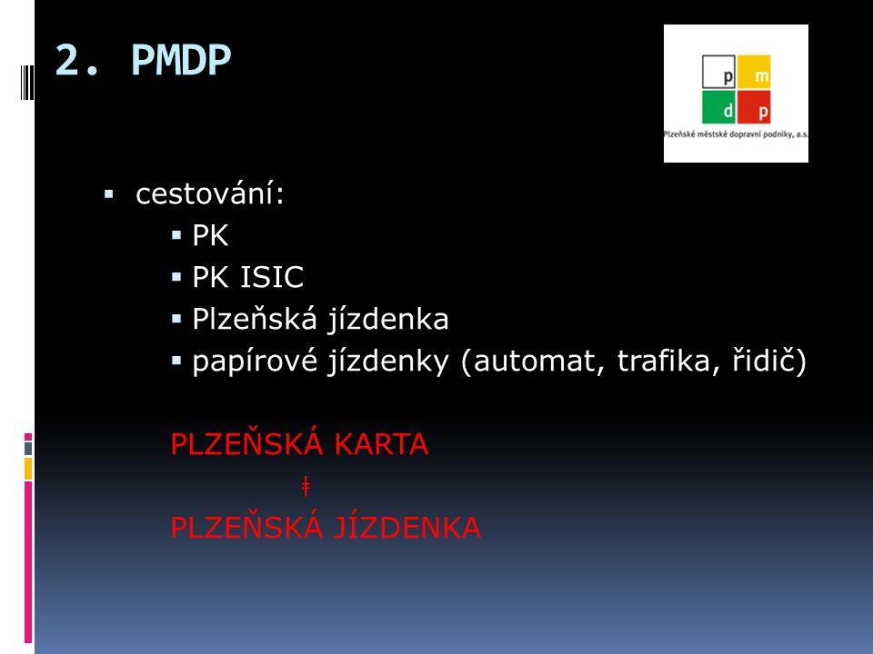 2. PMDP  cestování:  PK  PK ISIC  Plzeňská jízdenka  papírové jízdenky (automat, trafika, řidič) PLZEŇSKÁ KARTA ǂ PLZEŇSKÁ JÍZDENKA