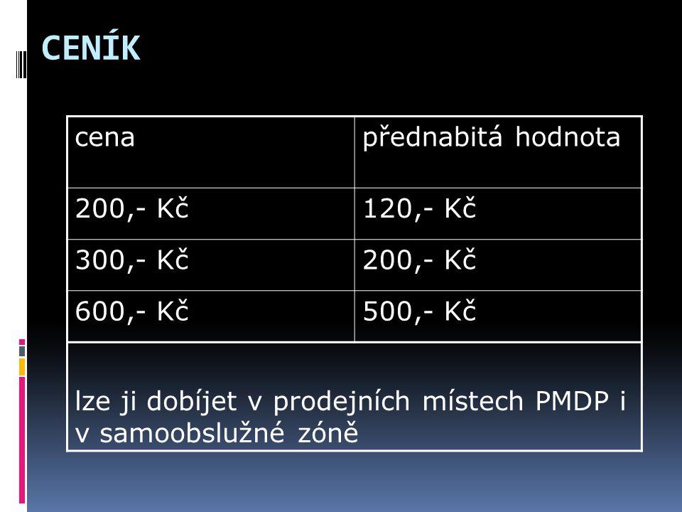 CENÍK cenapřednabitá hodnota 200,- Kč120,- Kč 300,- Kč200,- Kč 600,- Kč500,- Kč lze ji dobíjet v prodejních místech PMDP i v samoobslužné zóně