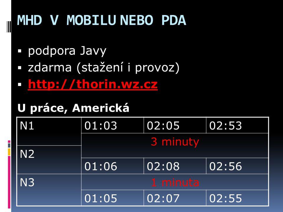 MHD V MOBILU NEBO PDA N101:0302:0502:53 3 minuty N2 01:0602:0802:56 N31 minuta 01:0502:0702:55  podpora Javy  zdarma (stažení i provoz)  http://tho