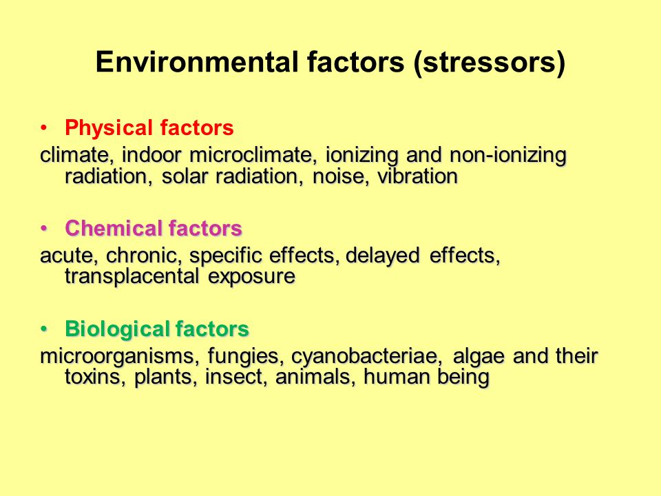 Environmental factors (stressors) Physical factors climate, indoor microclimate, ionizing and non-ionizing radiation, solar radiation, noise, vibration Chemical factorsChemical factors acute, chronic, specific effects, delayed effects, transplacental exposure Biological factorsBiological factors microorganisms, fungies, cyanobacteriae, algae and their toxins, plants, insect, animals, human being