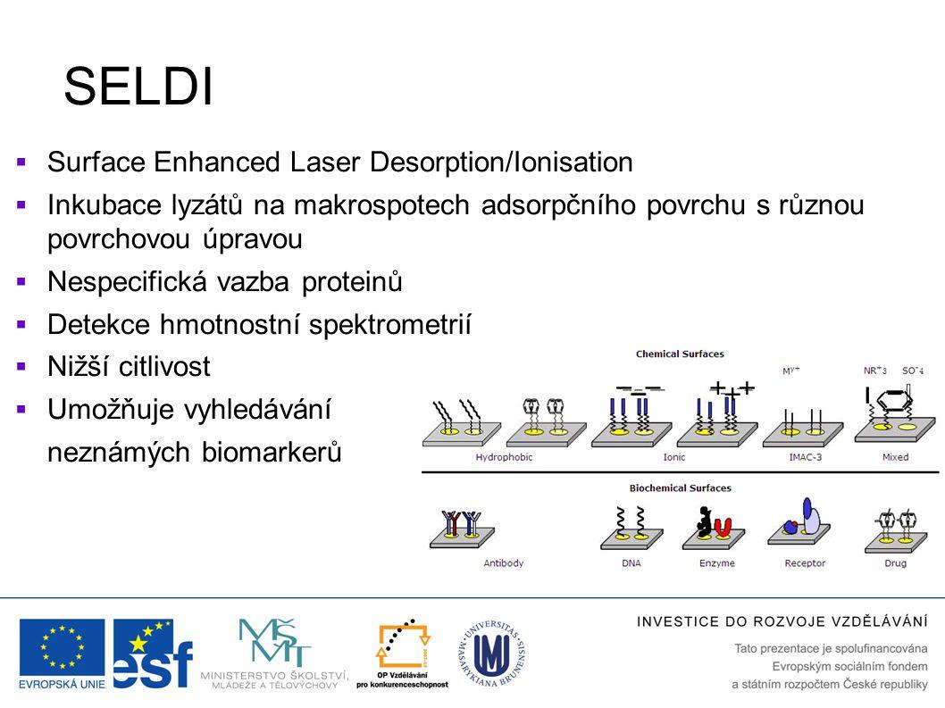 SELDI  Surface Enhanced Laser Desorption/Ionisation  Inkubace lyzátů na makrospotech adsorpčního povrchu s různou povrchovou úpravou  Nespecifická vazba proteinů  Detekce hmotnostní spektrometrií  Nižší citlivost  Umožňuje vyhledávání neznámých biomarkerů