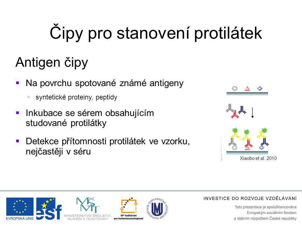 Čipy pro stanovení protilátek Antigen čipy  Na povrchu spotované známé antigeny  syntetické proteiny, peptidy  Inkubace se sérem obsahujícím studované protilátky  Detekce přítomnosti protilátek ve vzorku, nejčastěji v séru Xiaobo et al.