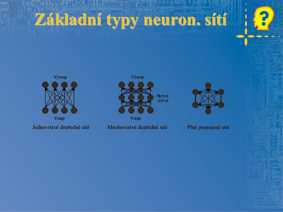 Základní typy neuron. sítí