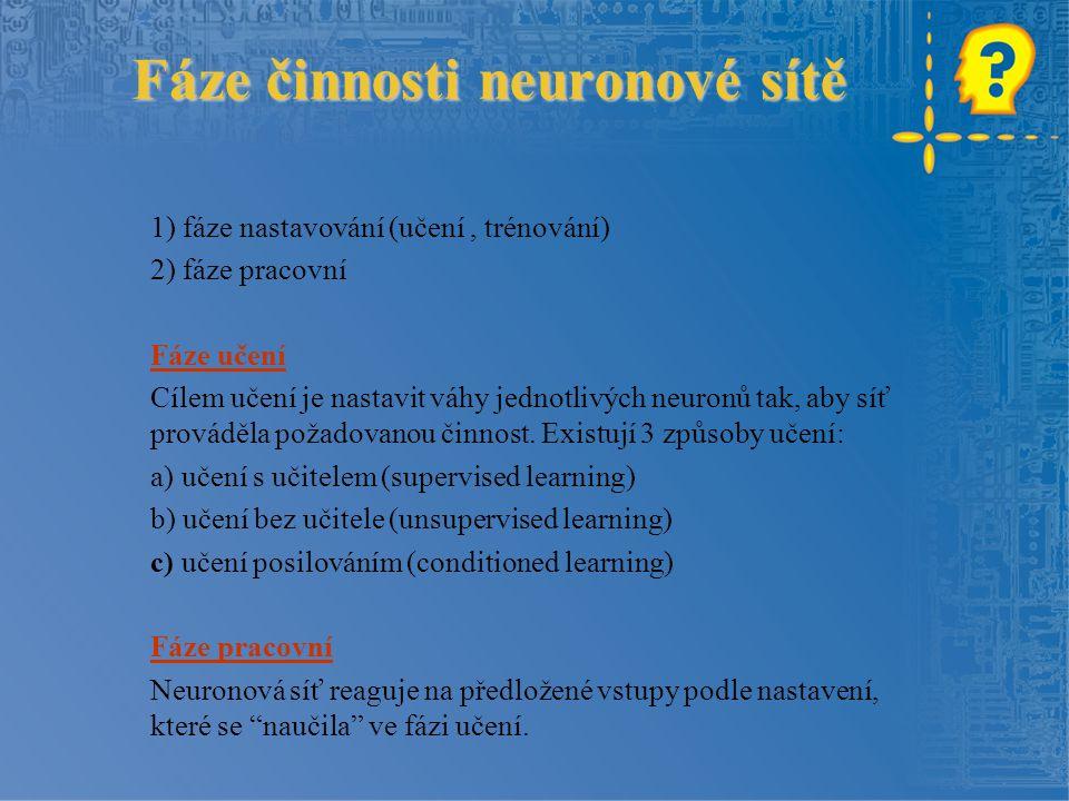 Fáze činnosti neuronové sítě 1) fáze nastavování (učení, trénování) 2) fáze pracovní Fáze učení Cílem učení je nastavit váhy jednotlivých neuronů tak, aby síť prováděla požadovanou činnost.