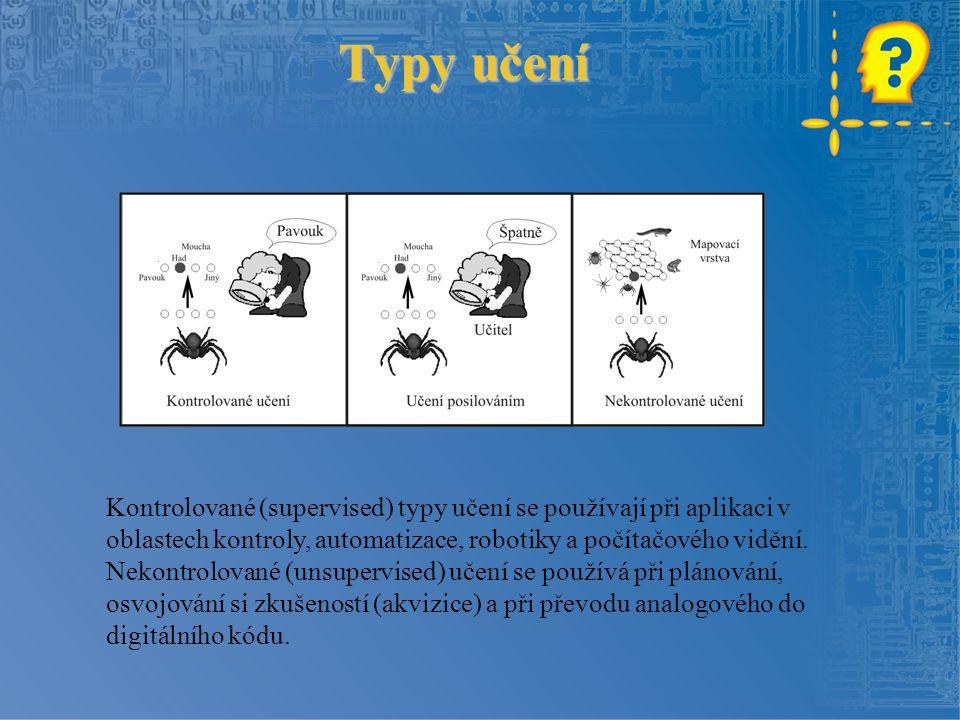 Typy učení Kontrolované (supervised) typy učení se používají při aplikaci v oblastech kontroly, automatizace, robotiky a počítačového vidění.