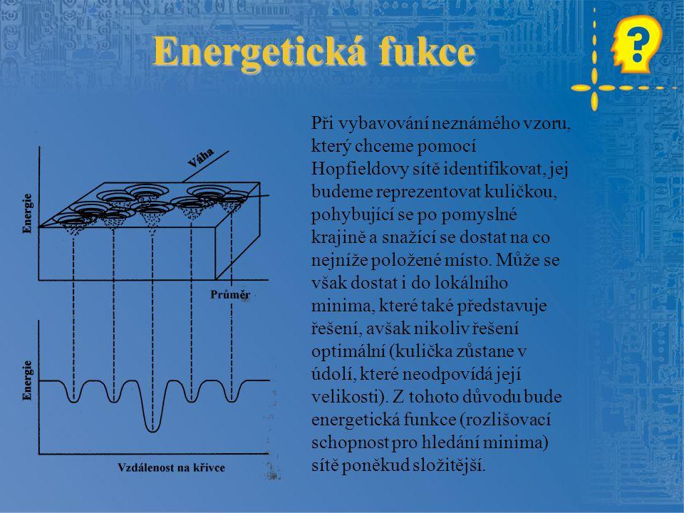 Energetická fukce Při vybavování neznámého vzoru, který chceme pomocí Hopfieldovy sítě identifikovat, jej budeme reprezentovat kuličkou, pohybující se po pomyslné krajině a snažící se dostat na co nejníže položené místo.