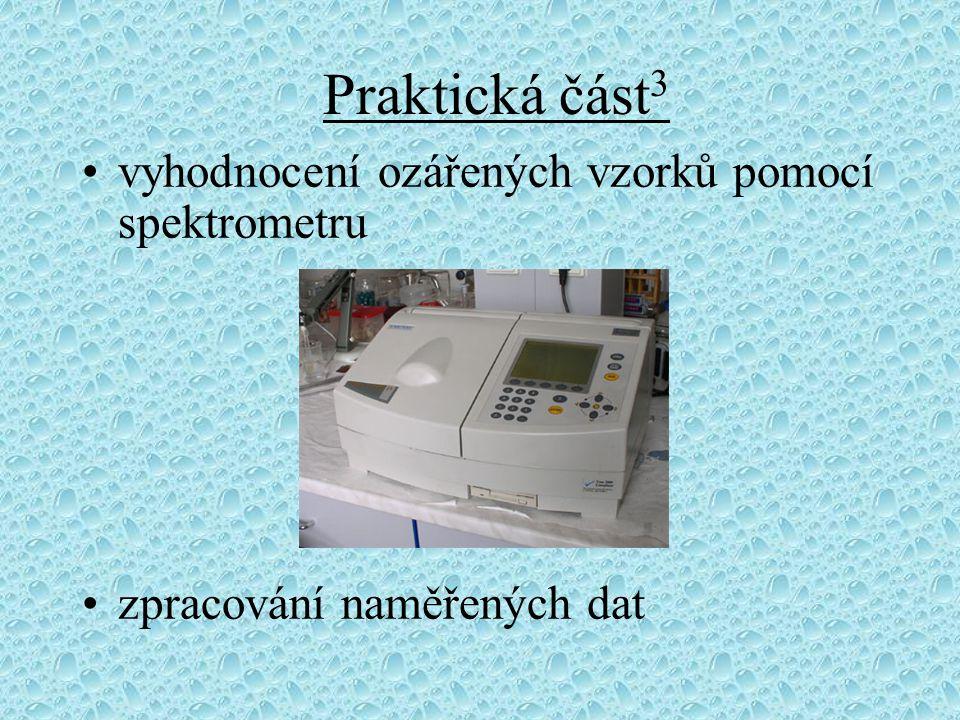 Praktická část 3 vyhodnocení ozářených vzorků pomocí spektrometru zpracování naměřených dat