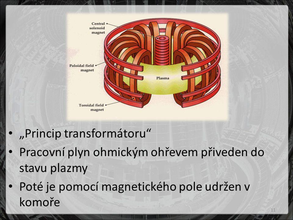 """""""Princip transformátoru Pracovní plyn ohmickým ohřevem přiveden do stavu plazmy Poté je pomocí magnetického pole udržen v komoře 11"""