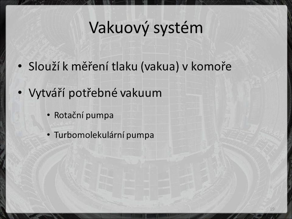 Vakuový systém Slouží k měření tlaku (vakua) v komoře Vytváří potřebné vakuum Rotační pumpa Turbomolekulární pumpa 19