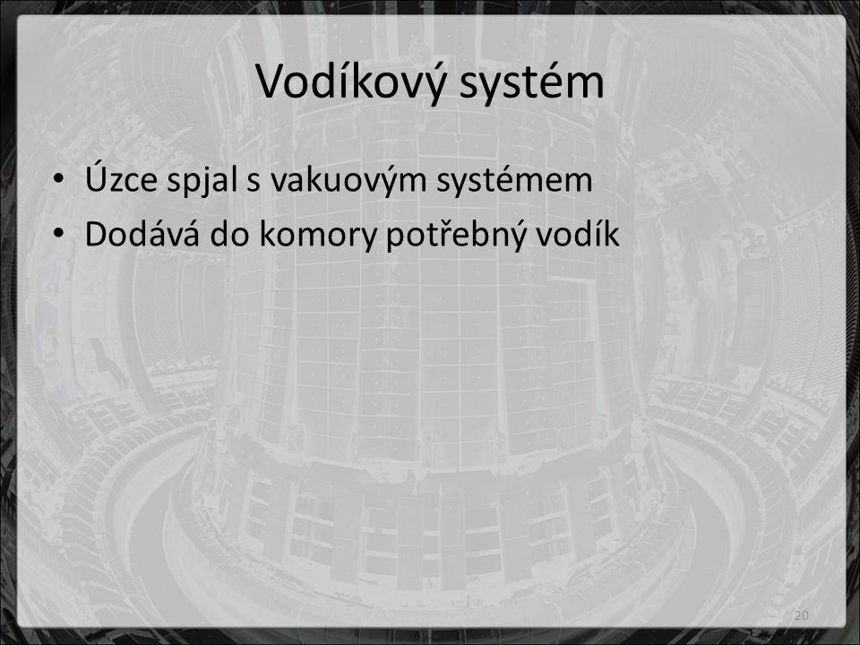 Vodíkový systém Úzce spjal s vakuovým systémem Dodává do komory potřebný vodík 20
