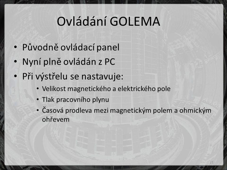Ovládání GOLEMA Původně ovládací panel Nyní plně ovládán z PC Při výstřelu se nastavuje: Velikost magnetického a elektrického pole Tlak pracovního plynu Časová prodleva mezi magnetickým polem a ohmickým ohřevem 21
