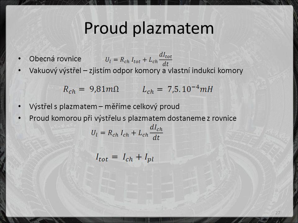 Proud plazmatem Obecná rovnice Vakuový výstřel – zjistím odpor komory a vlastní indukci komory Výstřel s plazmatem – měříme celkový proud Proud komorou při výstřelu s plazmatem dostaneme z rovnice 27