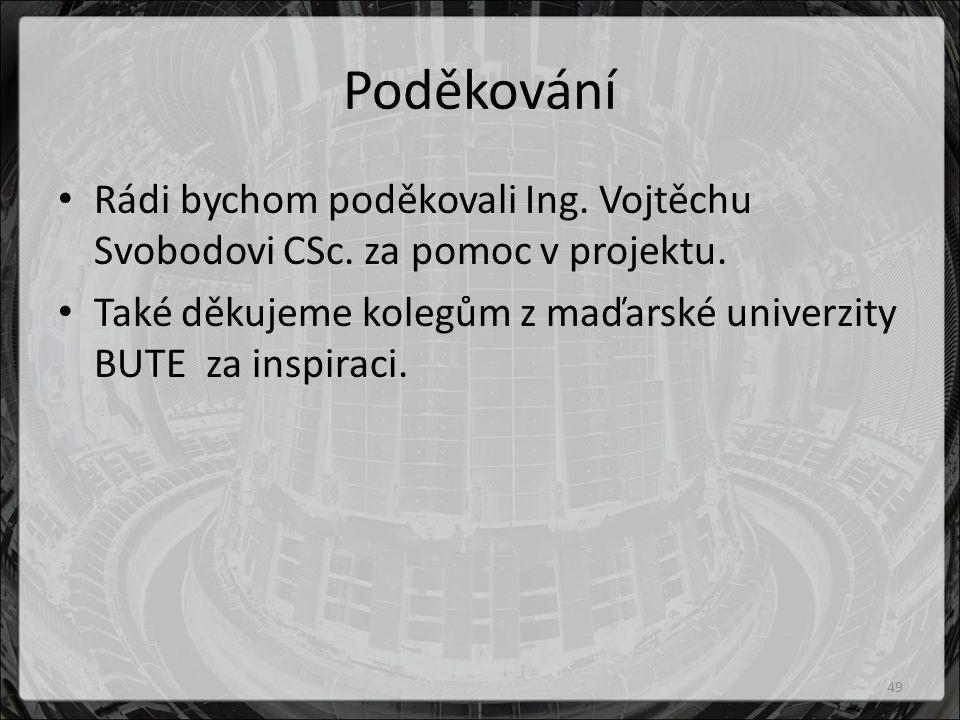 Poděkování Rádi bychom poděkovali Ing.Vojtěchu Svobodovi CSc.