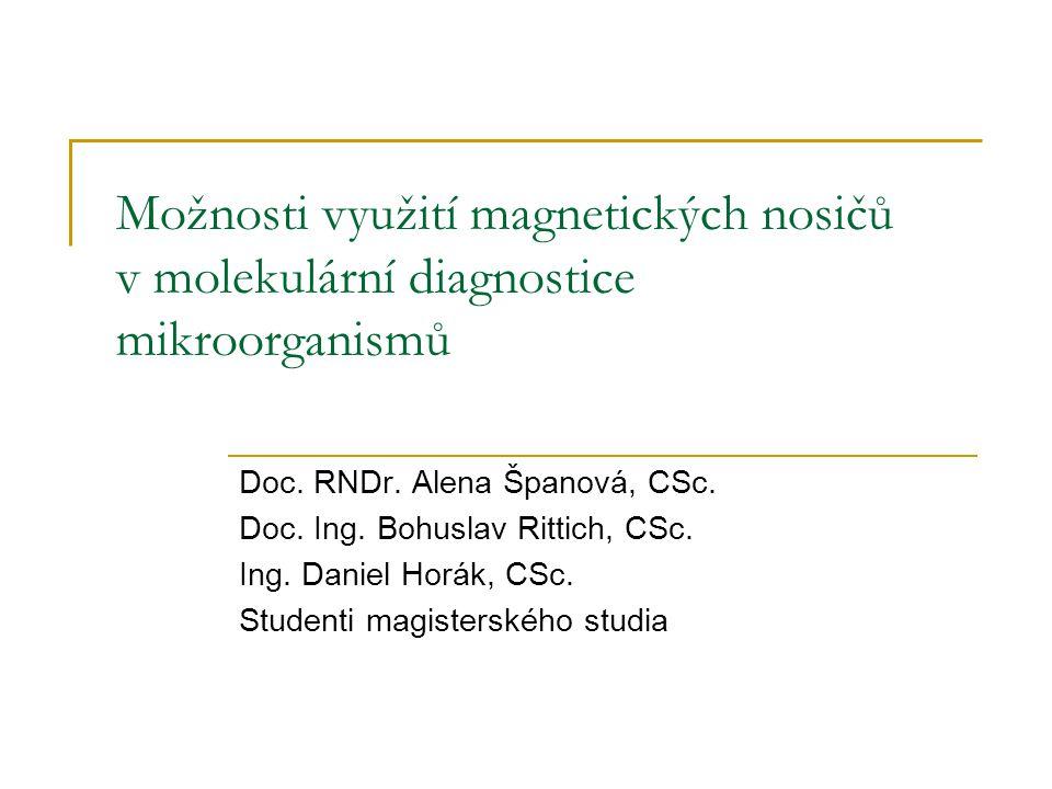 Možnosti využití magnetických nosičů v molekulární diagnostice mikroorganismů Doc. RNDr. Alena Španová, CSc. Doc. Ing. Bohuslav Rittich, CSc. Ing. Dan