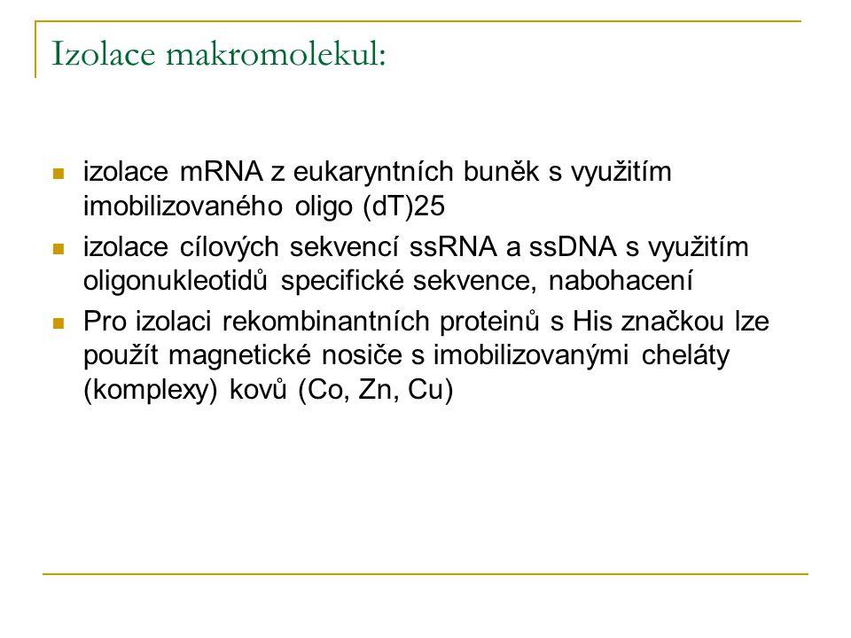 Izolace makromolekul: izolace mRNA z eukaryntních buněk s využitím imobilizovaného oligo (dT)25 izolace cílových sekvencí ssRNA a ssDNA s využitím oli