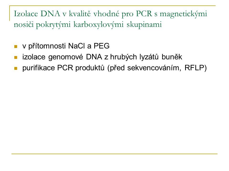 Izolace DNA v kvalitě vhodné pro PCR s magnetickými nosiči pokrytými karboxylovými skupinami v přítomnosti NaCl a PEG izolace genomové DNA z hrubých l