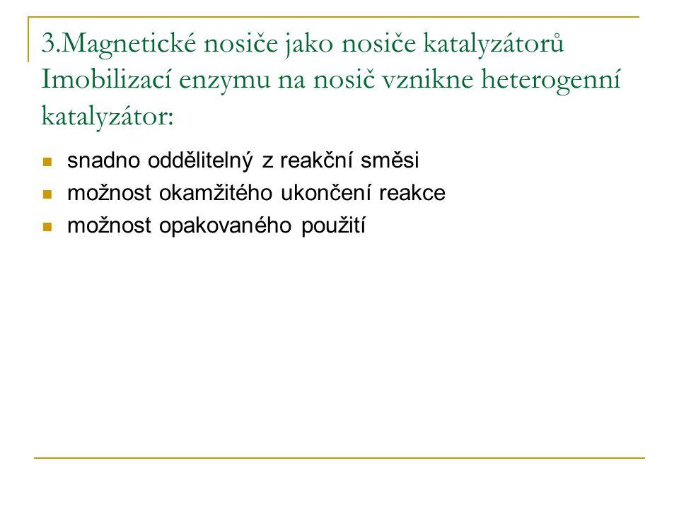 3.Magnetické nosiče jako nosiče katalyzátorů Imobilizací enzymu na nosič vznikne heterogenní katalyzátor: snadno oddělitelný z reakční směsi možnost o