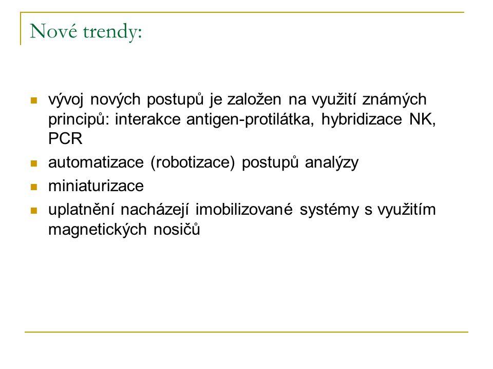 Nové trendy: vývoj nových postupů je založen na využití známých principů: interakce antigen-protilátka, hybridizace NK, PCR automatizace (robotizace)