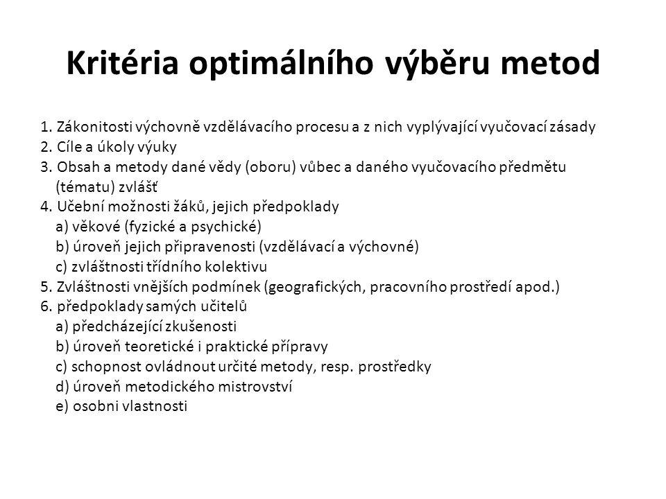 Kritéria optimálního výběru metod 1. Zákonitosti výchovně vzdělávacího procesu a z nich vyplývající vyučovací zásady 2. Cíle a úkoly výuky 3. Obsah a