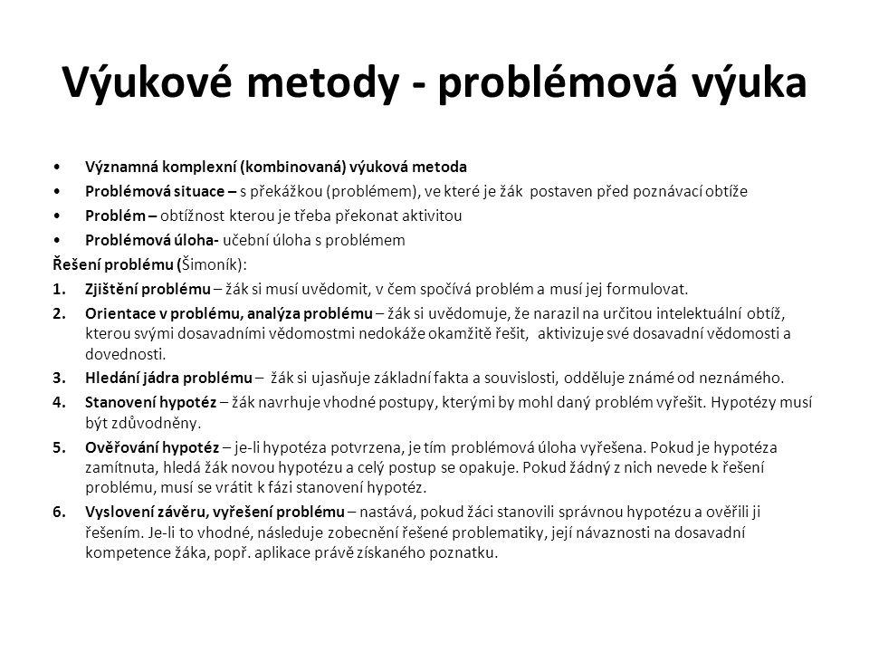 Výukové metody - problémová výuka Významná komplexní (kombinovaná) výuková metoda Problémová situace – s překážkou (problémem), ve které je žák postav