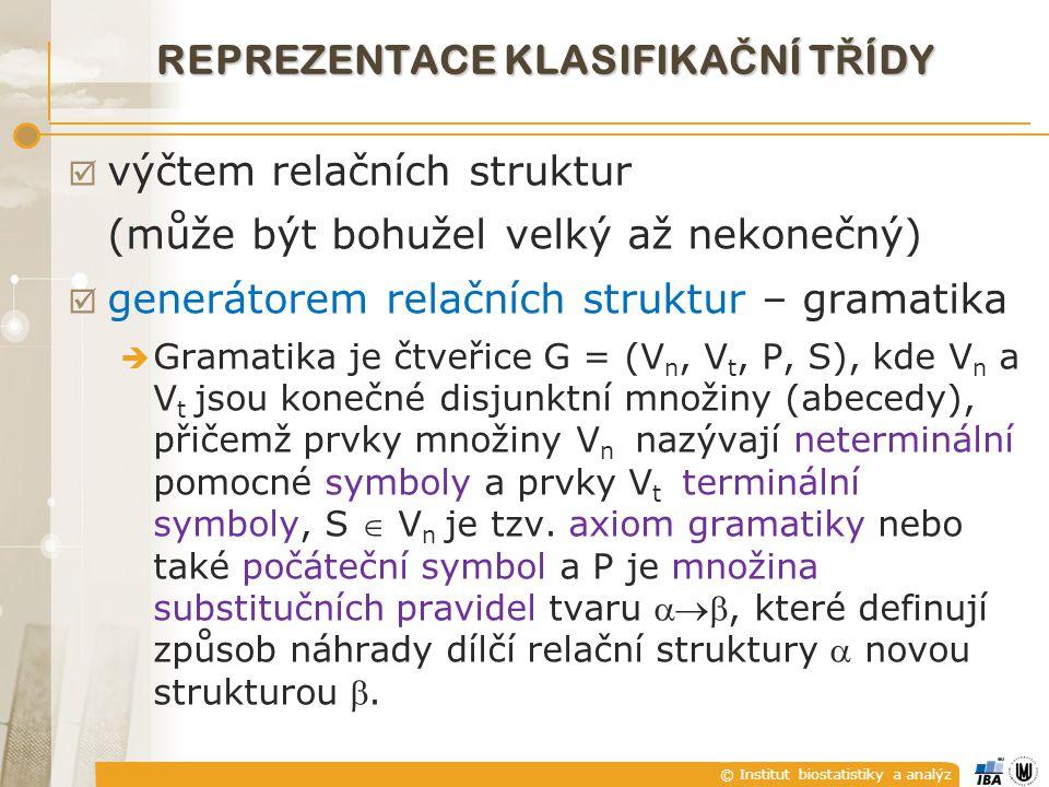 © Institut biostatistiky a analýz REPREZENTACE KLASIFIKA Č NÍ T Ř ÍDY  výčtem relačních struktur (může být bohužel velký až nekonečný)  generátorem relačních struktur – gramatika  Gramatika je čtveřice G = (V n, V t, P, S), kde V n a V t jsou konečné disjunktní množiny (abecedy), přičemž prvky množiny V n nazývají neterminální pomocné symboly a prvky V t terminální symboly, S  V n je tzv.