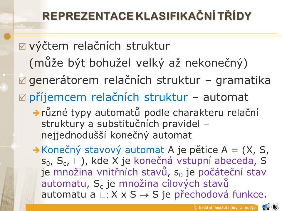 © Institut biostatistiky a analýz REPREZENTACE KLASIFIKA Č NÍ T Ř ÍDY  výčtem relačních struktur (může být bohužel velký až nekonečný)  generátorem relačních struktur – gramatika  příjemcem relačních struktur – automat  různé typy automatů podle charakteru relační struktury a substitučních pravidel – nejjednodušší konečný automat  Konečný stavový automat A je pětice A = (X, S, s 0, S c, ), kde X je konečná vstupní abeceda, S je množina vnitřních stavů, s 0 je počáteční stav automatu, S c je množina cílových stavů automatu a : X x S  S je přechodová funkce.