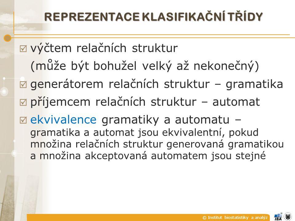 © Institut biostatistiky a analýz REPREZENTACE KLASIFIKA Č NÍ T Ř ÍDY  výčtem relačních struktur (může být bohužel velký až nekonečný)  generátorem relačních struktur – gramatika  příjemcem relačních struktur – automat  ekvivalence gramatiky a automatu – gramatika a automat jsou ekvivalentní, pokud množina relačních struktur generovaná gramatikou a množina akceptovaná automatem jsou stejné
