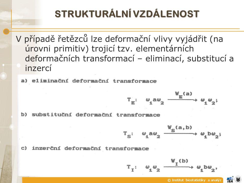 © Institut biostatistiky a analýz STRUKTURÁLNÍ VZDÁLENOST V případě řetězců lze deformační vlivy vyjádřit (na úrovni primitiv) trojicí tzv. elementárn