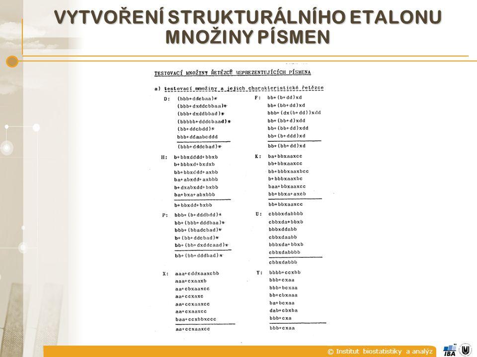 © Institut biostatistiky a analýz VYTVO Ř ENÍ STRUKTURÁLNÍHO ETALONU MNO Ž INY PÍSMEN