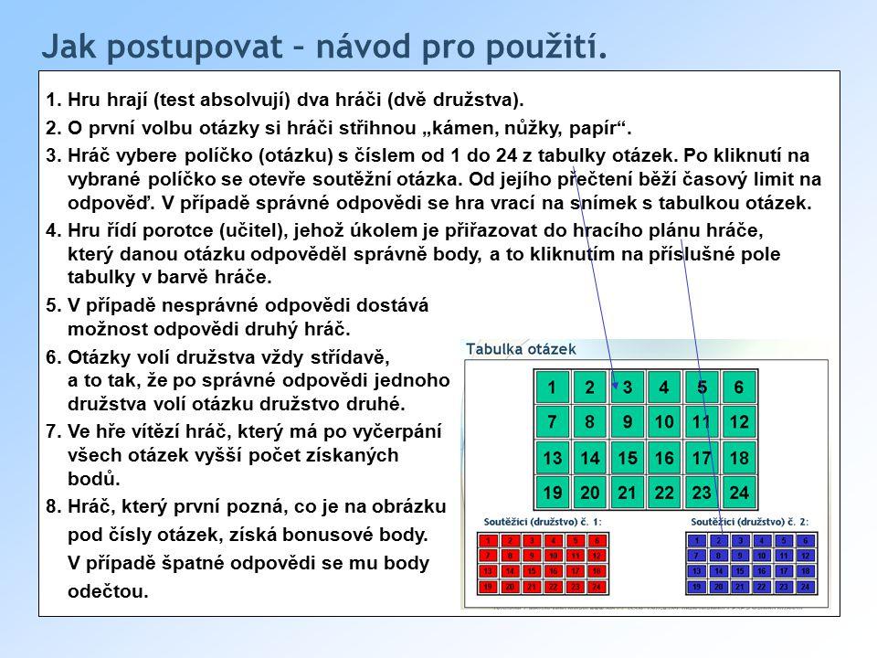 Jak postupovat – návod pro použití.1. Hru hrají (test absolvují) dva hráči (dvě družstva).